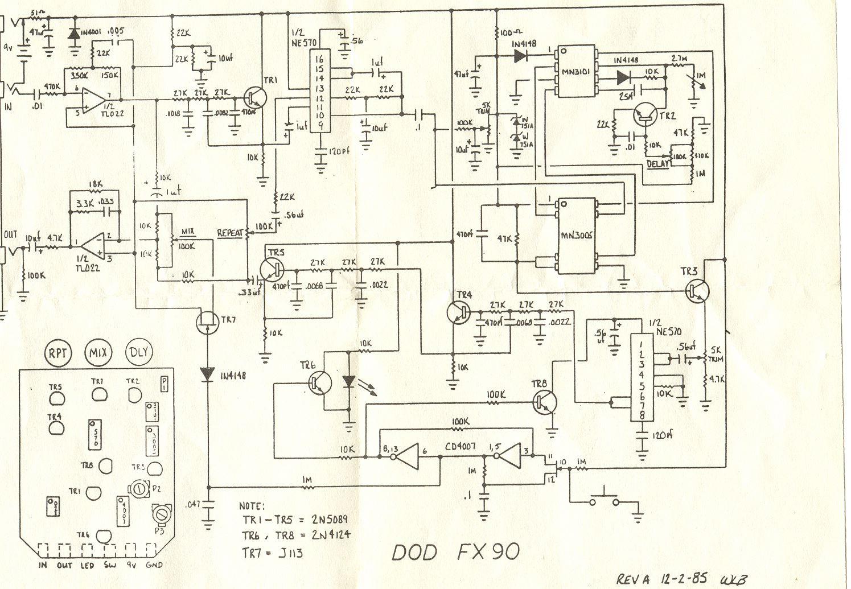 HOT ROD DOD MOD: FX90 og delay – Doktor Ross Sewage Guitar Delay Pedal Schematic on eq pedal schematic, guitar tube preamp schematic, reverb pedal schematic,